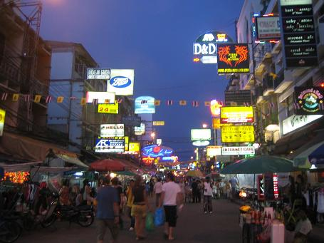 Khao San Road is the mecca for tourism in Bangkok. 24 hour bars and constant meyhem with food stalls, bootleg DVD and on the street salesmen working overtime to intice the toursts.
