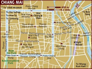 A Map of Chiang Mai with it`s unique moat like river running round it.