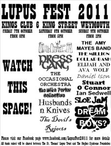 Lupus Fest line up - Big well done to Stewart and Carol Osbourne for organising such a full weekend of free music for a good cause.