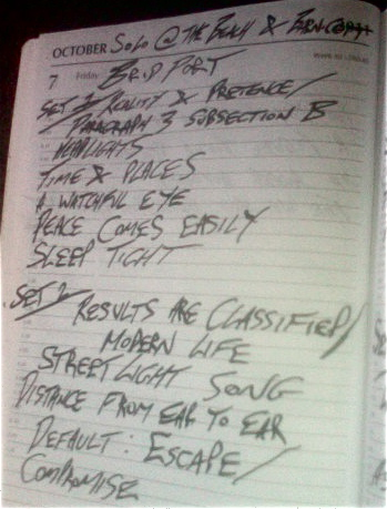 B & B Setlist - I busted out an old song from my other band 'My Pet Junkie' called 'Peace Comes Easily'. It's great to hark back to old school from time to time :)