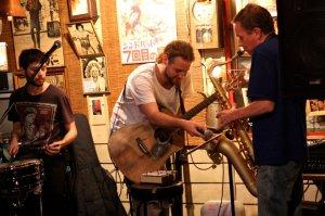 Graham, Daniel and myself during an intense loop jam involving a mass layering of Grahams Sax lines. Photo by Kyoko Obayashi
