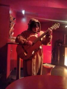 Mogura ka maigo - Actually Dressed like a Mole. Even after the show offstage with his Sake and smokes.