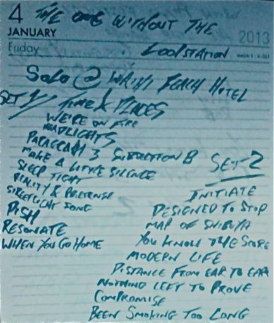 Setlist from Waihi Beach Cafe.