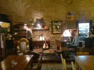 Setting up inside Osteria Sotto Le Mura.