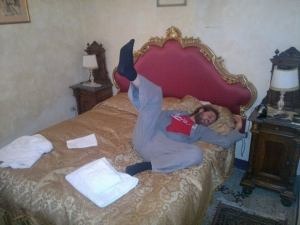 Here I am mid slumber on the hotel bed. Surely everyone sleeps with one leg up in the air :P