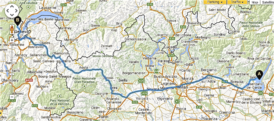 The Drive from Garda to Cessy (just outside Geneva). Total road time nearly 11 hours.