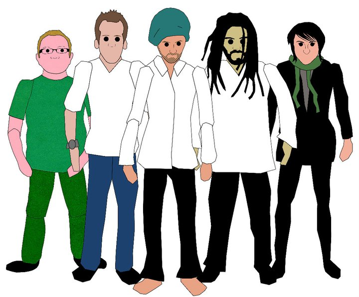 The Band: (LtR) Leon, Dave, Stuart, Riad, Vicky - Sketch by Mark Garvey