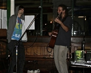 Ollie George and myself onstage in Falmouth, Cornwall (SW England) in 2009.