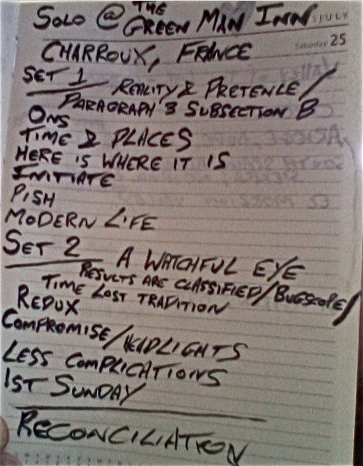 Setlist from the Charroux Show