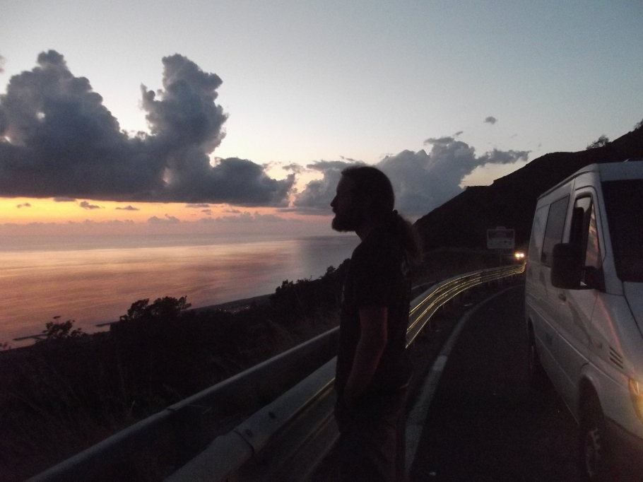 With the tour van catching the Sun setting in Calabria - South Italy, Photo Taken by Asmara Cimignolo